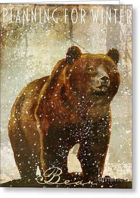 Winter Game Bear Greeting Card by Mindy Sommers