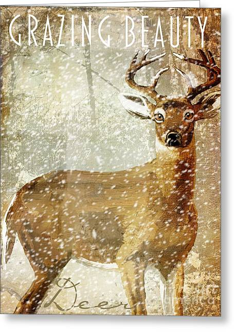 Grazing Snow Greeting Cards - Winter Game Deer Greeting Card by Mindy Sommers