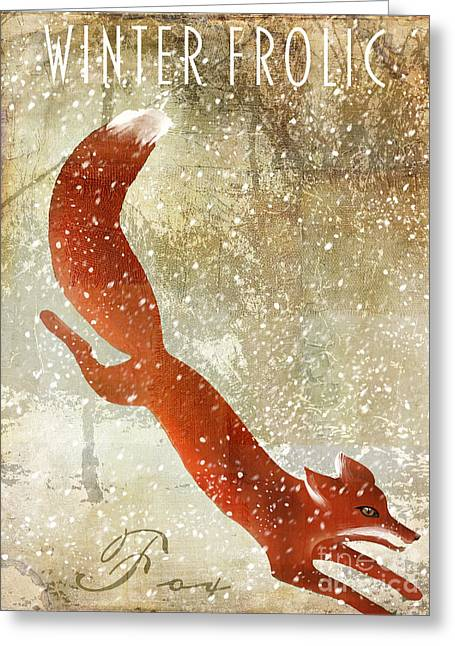 Grazing Snow Paintings Greeting Cards - Winter Game Fox Greeting Card by Mindy Sommers