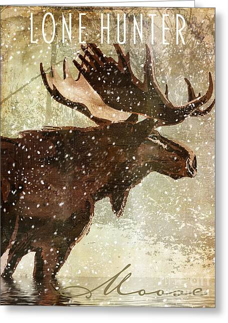 Recently Sold -  - Grazing Snow Greeting Cards - Winter Game Moose Greeting Card by Mindy Sommers