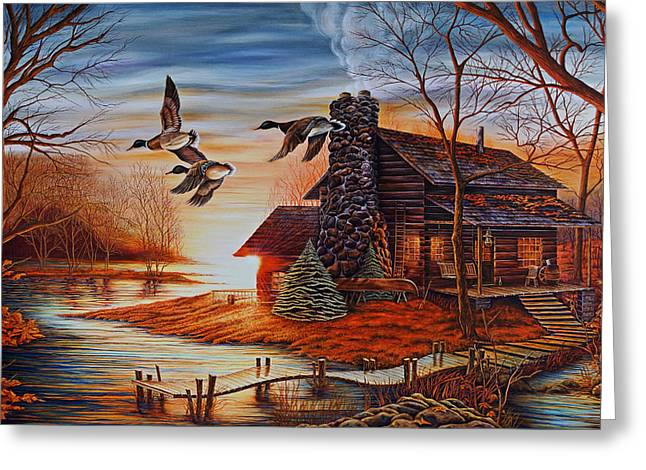 Mallards Greeting Cards - Winter Getaway Greeting Card by Carmen Del Valle