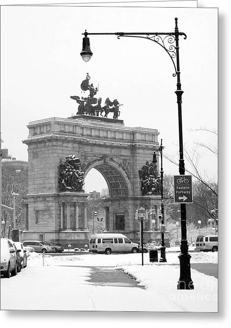 Arch Greeting Cards - Winter Grand Army Plaza Greeting Card by Mark Gilman