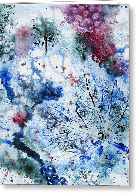 Grape Vines Paintings Greeting Cards - Winter Grapes II Greeting Card by Karen Fleschler