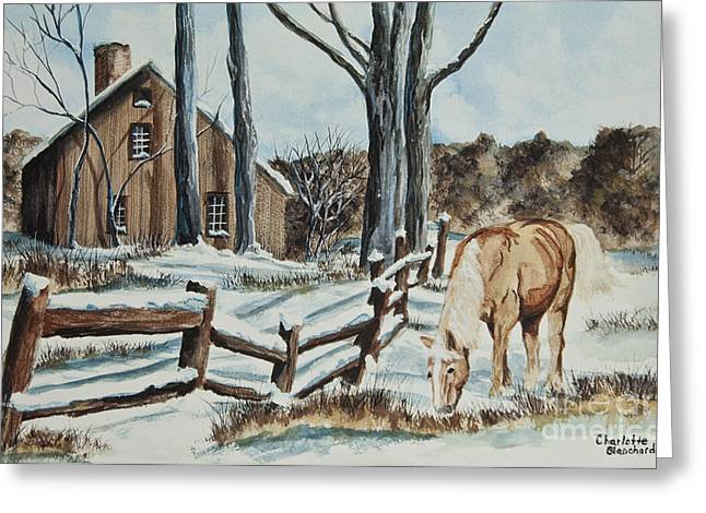 Split-rail Fence Greeting Cards - Winter Grazing  Greeting Card by Charlotte Blanchard