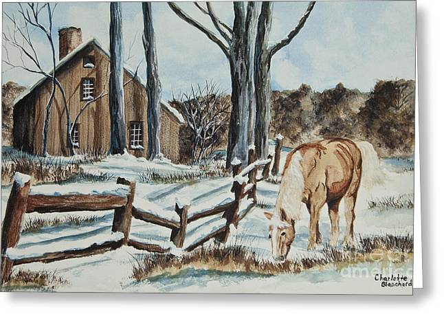 Split Rail Fence Paintings Greeting Cards - Winter Grazing  Greeting Card by Charlotte Blanchard