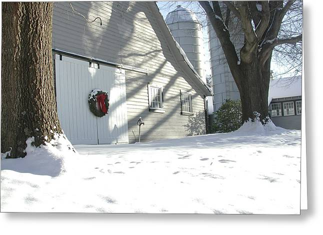 Barn Door Digital Greeting Cards - Winter Holiday at the farm. Greeting Card by Robert Ponzoni