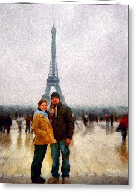 Eiffel Tower Greeting Cards - Winter Honeymoon in Paris Greeting Card by Jeff Kolker
