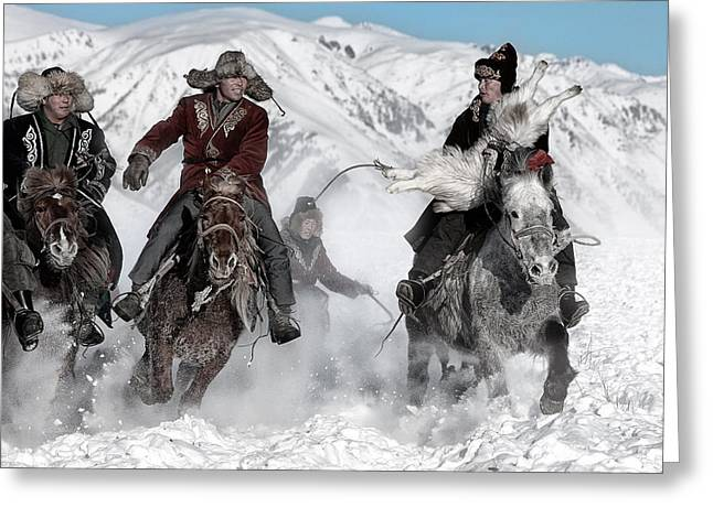 Winters Greeting Cards - Winter Horse Race Greeting Card by Bj Yang