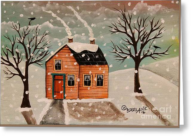 Winter House Greeting Card by Karla Gerard
