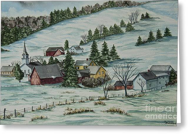 New England Village Scene Greeting Cards - Winter In East Chatham Vermont Greeting Card by Charlotte Blanchard