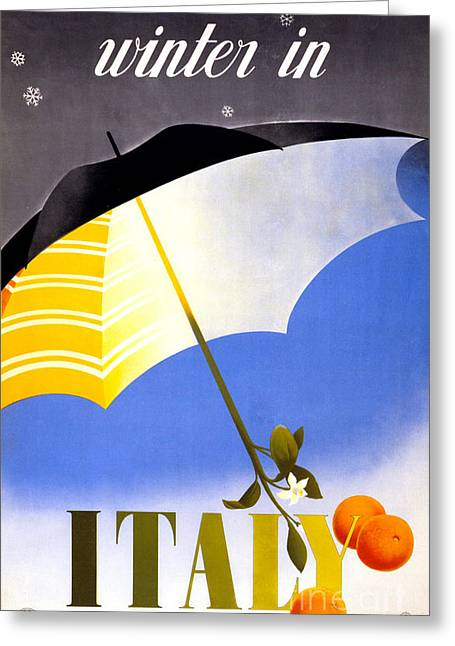 Historical Images Greeting Cards - Winter in Italy Vintage Travel Poster Restored Greeting Card by Carsten Reisinger