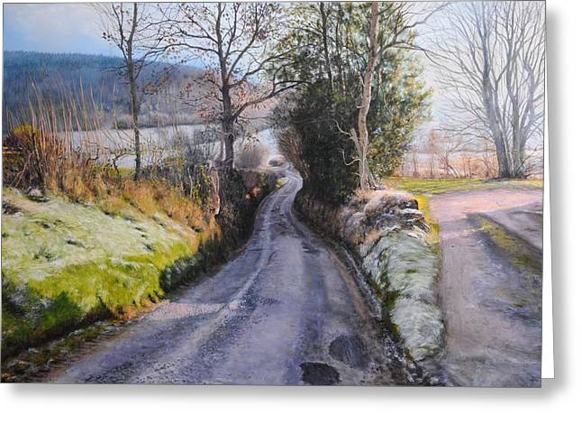 Naturalistic Paintings Greeting Cards - Winter in North Wales Greeting Card by Harry Robertson