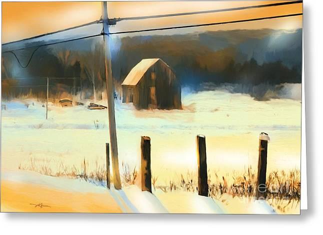 Winter Road Scenes Digital Greeting Cards - Winter In Powassan Ont. Greeting Card by Bob Salo