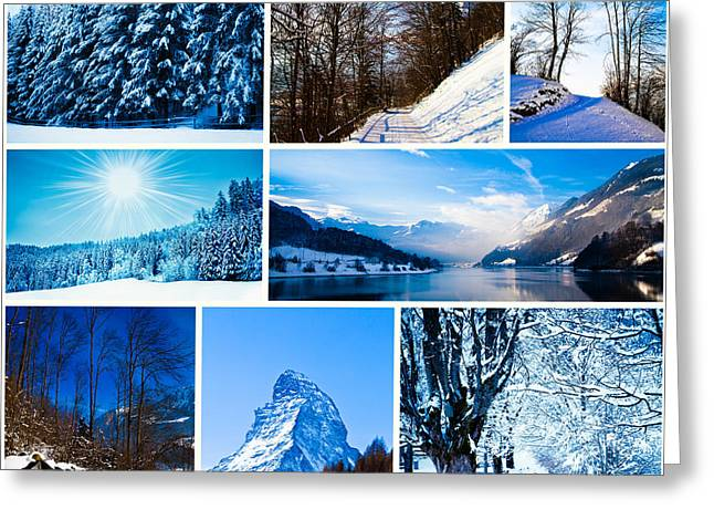 Snow Scene Landscape Greeting Cards - Winter in swiss alps Greeting Card by Eugen Wais