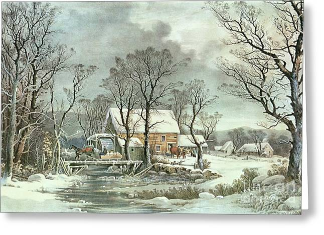 Xmas Paintings Greeting Cards - Winter in the Country - the Old Grist Mill Greeting Card by Currier and Ives