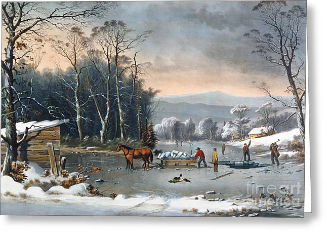 1820 Greeting Cards - Winter in the Country Greeting Card by Currier and Ives