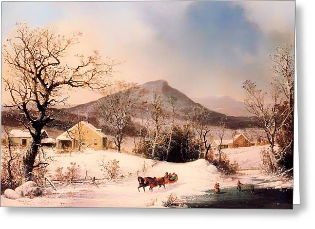 Sled.fence Greeting Cards - Winter In The Country - Distant Hills Greeting Card by George Henry Durrie