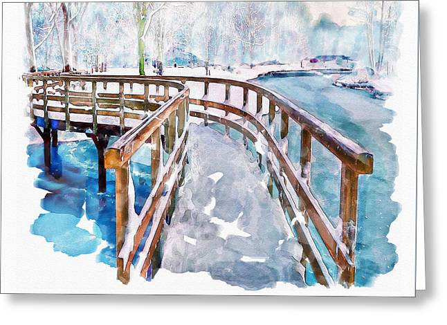 Winter In The Park Greeting Card by Marian Voicu