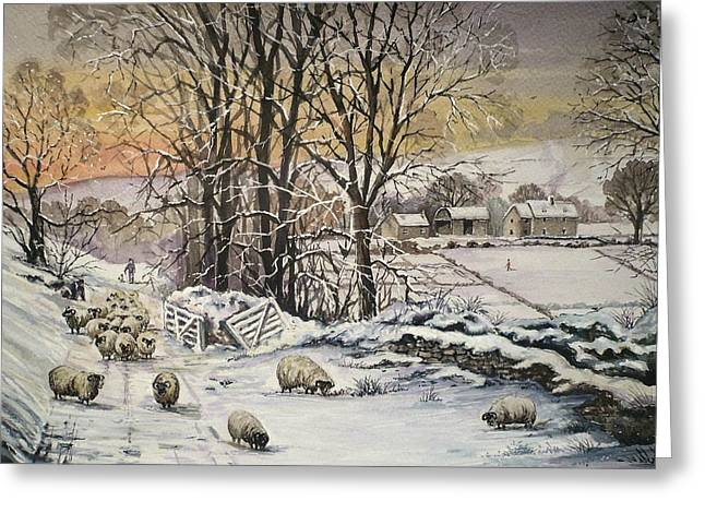 Snow Tree Prints Digital Greeting Cards - Winter In The Ribble Valley Greeting Card by Andrew Read