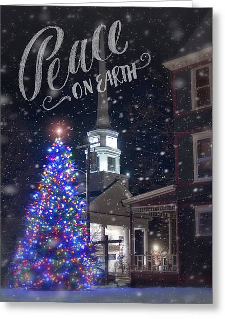 New England Snow Scene Greeting Cards - Winter in Vermont - Christmas Greeting Card by Joann Vitali