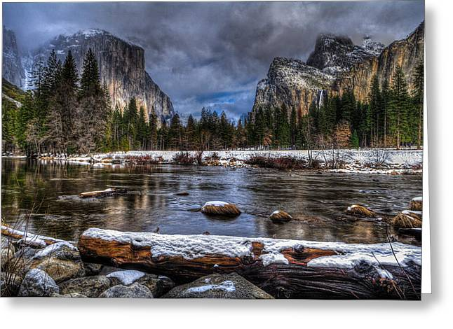 Dome Pyrography Greeting Cards - Winter in Yosemite Valley Greeting Card by Rick Strobaugh