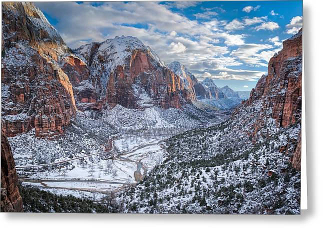 Winter In Zion National Park Greeting Card by James Udall