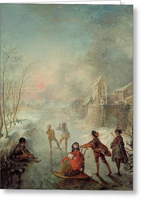 Winter Fun Paintings Greeting Cards - Winter Greeting Card by Jacques de Lajoue
