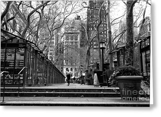 Winter Jog In The Park Greeting Card by John Rizzuto