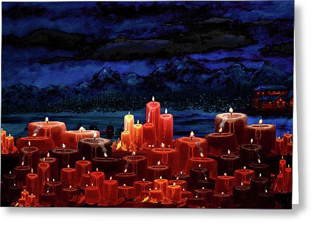 Winter Lakes Candle Light 2 Greeting Card by Ken Figurski