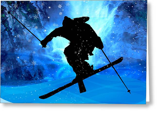 Freestyle Skiing Greeting Cards - Winter Landscape and Freestyle Skier Greeting Card by Elaine Plesser