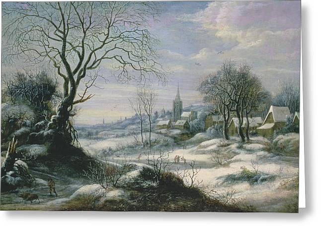 Daniel Paintings Greeting Cards - Winter landscape Greeting Card by Daniel van Heil