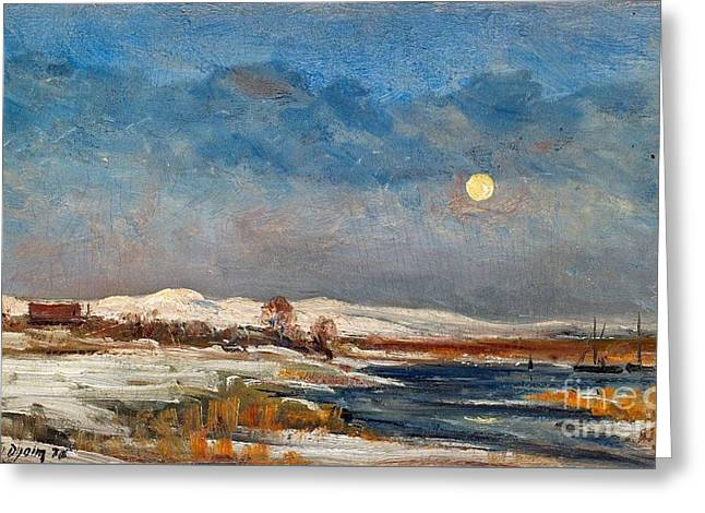 Winter Landscape In Moonlight Greeting Card by Celestial Images