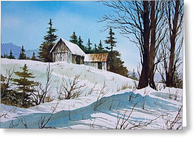 Framed Winter Snow Print Greeting Cards - Winter Landscape Greeting Card by James Williamson