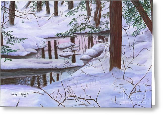 Winter Landscape Greeting Card by Judy Filarecki