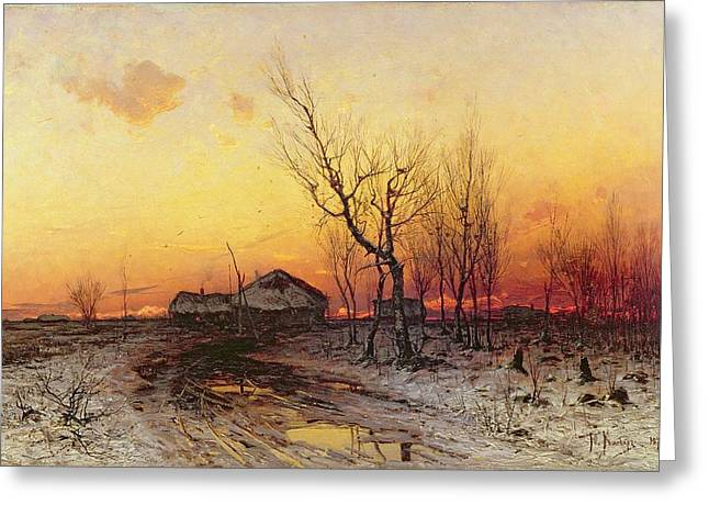 Puddle Paintings Greeting Cards - Winter Landscape Greeting Card by Julius Sergius Klever