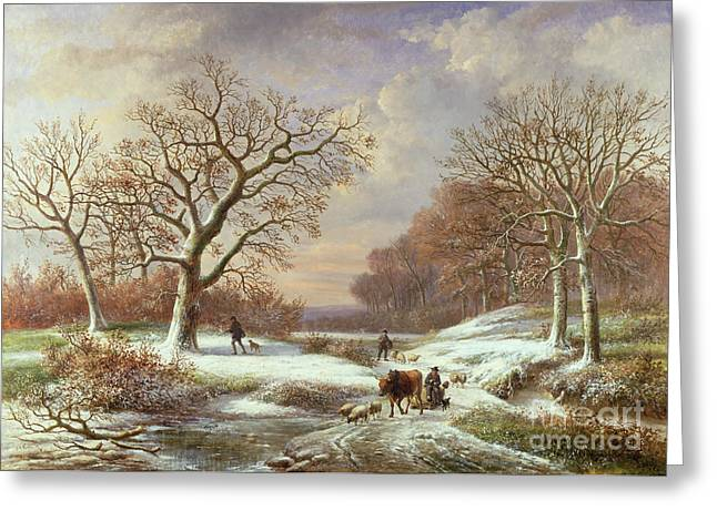 Winter Landscape Greeting Card by Louis Verboeckhoven