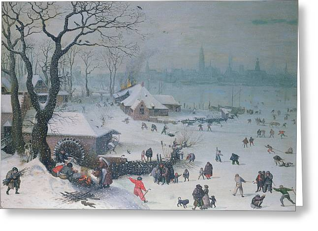Winter Fun Paintings Greeting Cards - Winter Landscape Greeting Card by Lucas Van Valckenborch