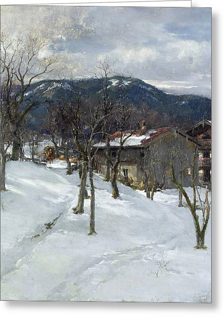 Chalet Greeting Cards - Winter landscape near Kutterling Greeting Card by Johann Sperl