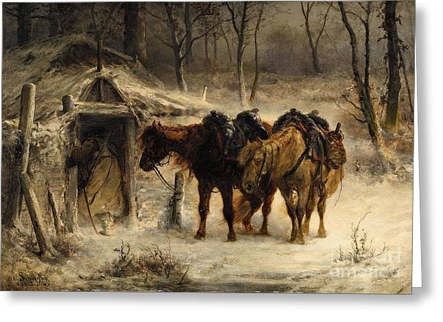 Winter Storm Greeting Cards - Winter Landscape with a Huntsman and Horses Greeting Card by Celestial Images