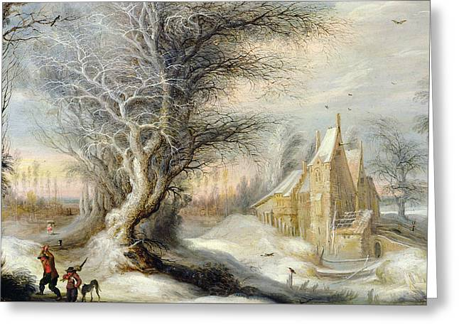 People Paintings Greeting Cards - Winter Landscape with a Woodcutter Greeting Card by Gysbrecht Lytens or Leytens