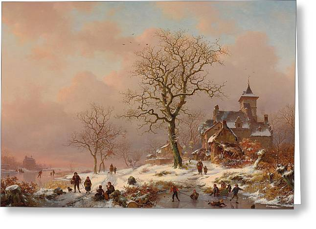 Winter Landscape With Figures Playing On The Ice Greeting Card by Frederick Marianus Kruseman