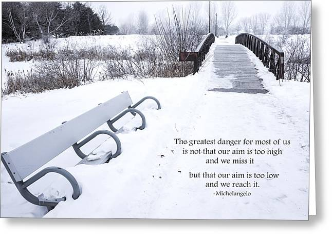 Clever Greeting Cards - winter landscape with Inspirational Text Greeting Card by Donald  Erickson