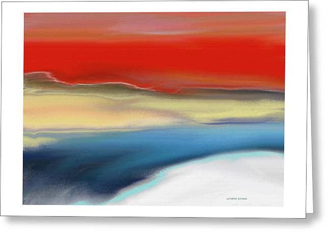 Abstractions Greeting Cards - Winter Landscape with Sunset Greeting Card by Lenore Senior