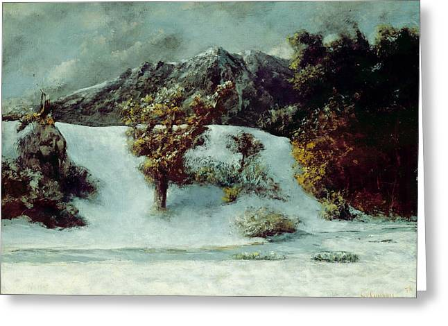 Midi Greeting Cards - Winter Landscape With The Dents Du Midi Greeting Card by Gustave Courbet