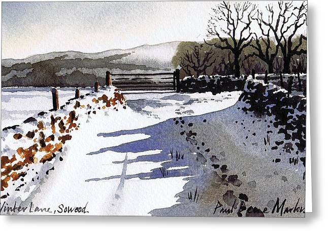 Snow Scenes Greeting Cards - Winter Lane sowood Greeting Card by Paul Dene Marlor