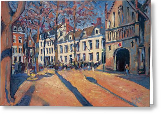 Limburg Greeting Cards - Winter light at the Our Lady Square in Maastricht Greeting Card by Nop Briex