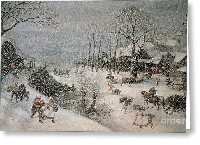 Cart Greeting Cards - Winter Greeting Card by Lucas van Valckenborch