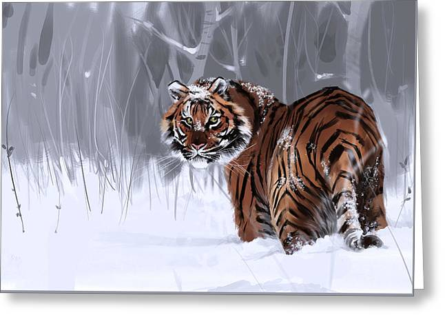 Wintry Greeting Cards - Winter Majesty Greeting Card by Damani Hughes