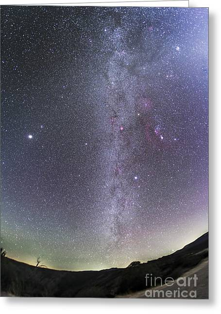 Winter Scenes Rural Scenes Greeting Cards - Winter Milky Way From New Mexico Greeting Card by Alan Dyer