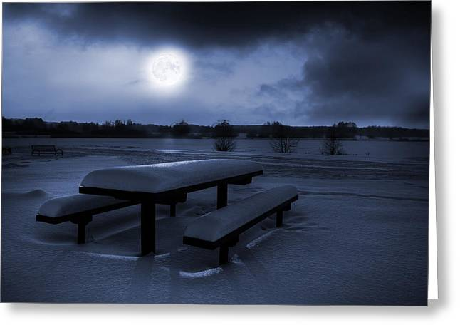 Snowy Evening Greeting Cards - Winter Moonlight Greeting Card by Jaroslaw Grudzinski